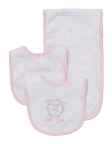 Little Me Three-Piece Pink Bow Bib Set-WHITE/PINK-One Size