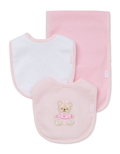 Little Me Three-Piece Sweet Bear Bib Set-PINK-One Size