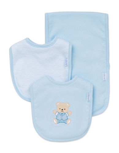 Little Me Three-Piece Tuxedo Teddy Bib Set-BLUE-One Size