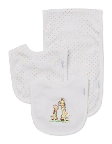 Little Me Three-Piece Giraffe Bib Set-WHITE-One Size