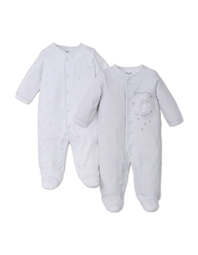 Little Me Two-Pack Printed Footed Sleepers-WHITE-3 Months