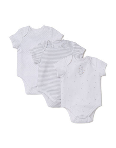 Little Me Three-Pack Welcome to the World Bodysuits-WHITE-Newborn