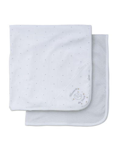 Little Me Two-Pack Receiving Blankets-WHITE-One Size