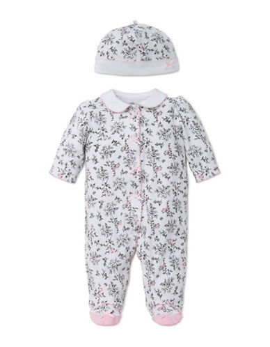 Little Me Bird Toile One-Piece Cotton Footie and Hat-ORCHID PINK-Newborn