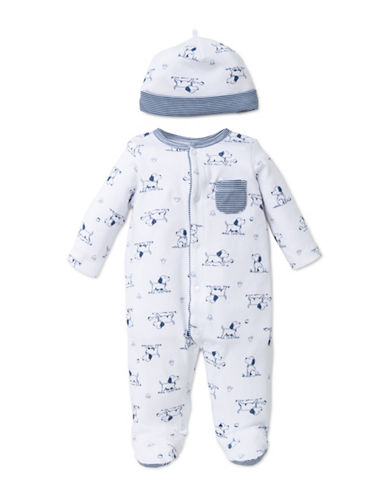 Little Me Two-Piece Puppy Footed Sleeper with Cap-WHITE/BLUE-Newborn