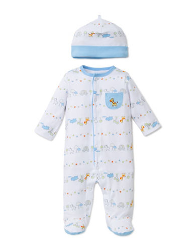 Little Me Two-Piece Safari Footie Sleeper with Cap-WHITE/BLUE-Newborn