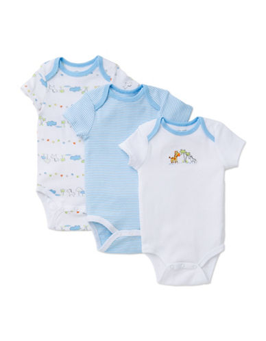 Little Me Three-Pack Fun Safari Bodysuits-WHITE/BLUE-Newborn