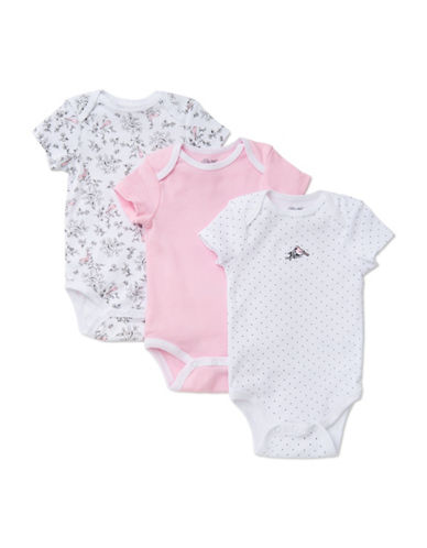 Little Me Three-Pack Fun Birds Bodysuits-PINK-3 Months