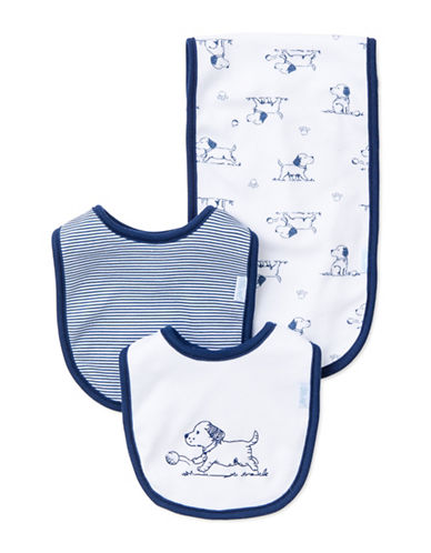 Little Me Three-Piece Puppy Bib Set-BLUE/WHITE-One Size