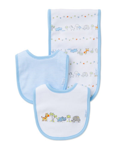 Little Me Three-Piece Safari Adventure Bib Set-WHITE/BLUE-One Size