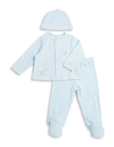 Little Me Teddy Top, Pants and Hat Set-BLUE-6 Months