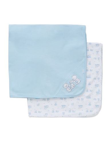 Little Me Two-Pack Cotton Teddy Bear Receiving Blanket-BLUE-One Size