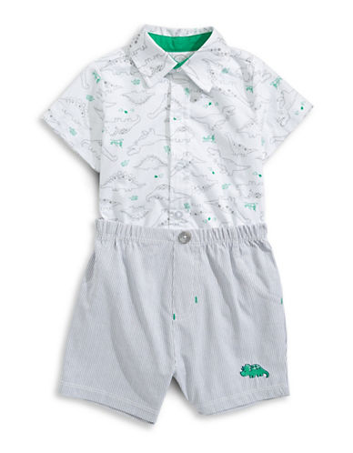 Little Me Two-Piece Happy Dino Shirt and Shorts Set-GREY-3 Months