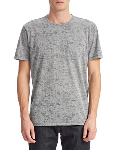 John Varvatos Star U.S.A. Whipstitch Slub Pocket Tee-GREY-X-Large