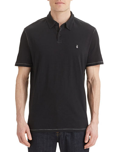 John Varvatos Star U.S.A. Short Sleeve Slub Knit Polo-BLACK-Small