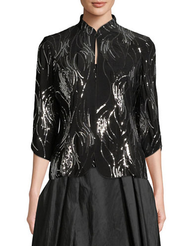 Alex Evenings Two-Piece Sequin Top and Jacket Set-BLACK-Large