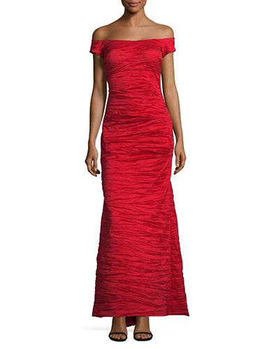 Alex Evenings Off-Shoulder Taffeta Gown-RED-10