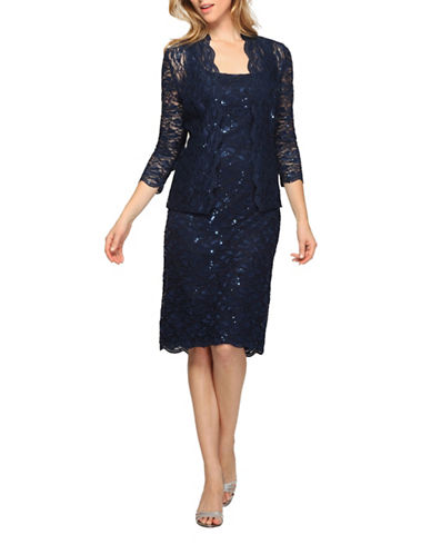 Alex Evenings Sequined Lace Dress and Jacket-NAVY-16