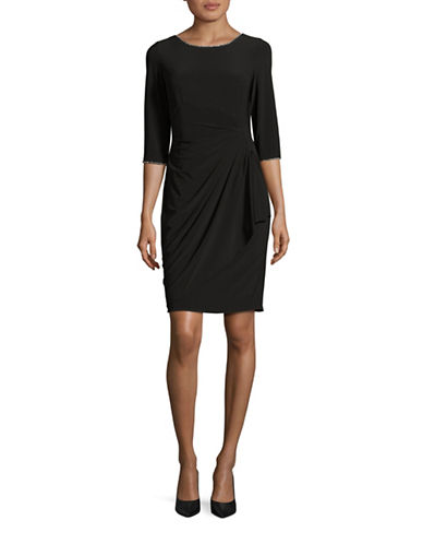 Alex Evenings Embellished Ruched-Waist Dress-BLACK-6