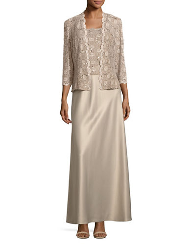 Alex Evenings Sequined Lace A-Line Gown with Jacket-BEIGE-12