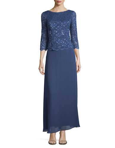 Alex Evenings Sequin Lace Bodice Gown-BLUE-10