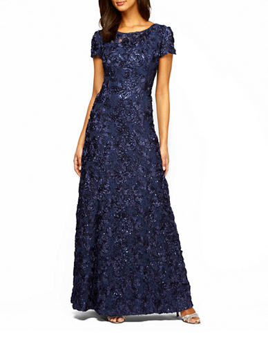 Alex Evenings A-line Rosette Lace Dress-NAVY-16