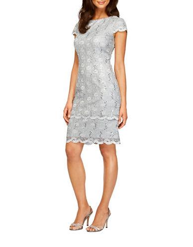 Alex Evenings Tiered Lace Sheath Dress-SILVER-12