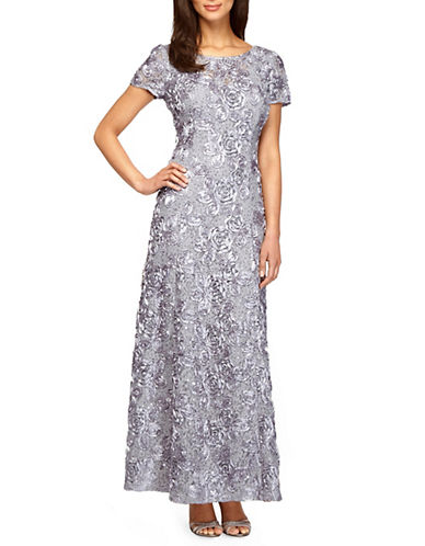 Image of Alex Evenings A-line Rosette Lace Dress-GREY-10