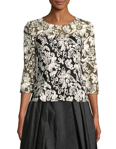Alex Evenings Floral Embroidered Tulle Blouse-BLACK/WHITE-Large