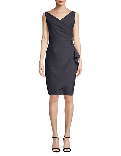 Alex Evenings Beaded Sheath Dress with Ruching-CHARCOAL-14