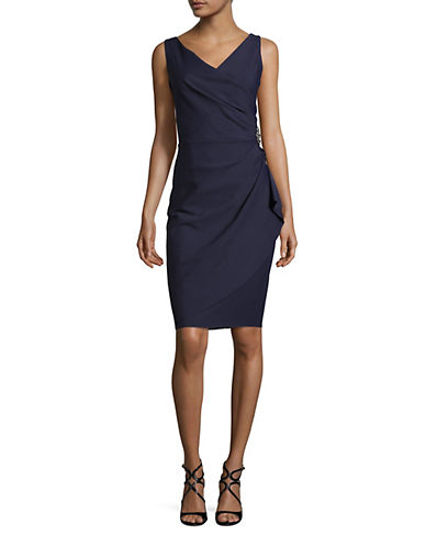 Alex Evenings Beaded Sheath Dress with Ruching-BLUE-16