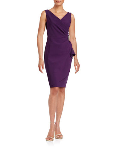 Alex Evenings Beaded Sheath Dress with Ruching-SUMMER PURPLE-8