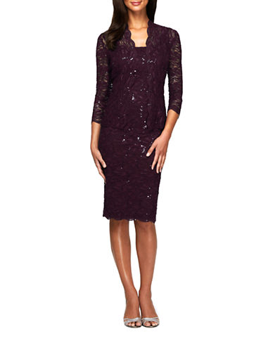 Alex Evenings Tea Length Lace Jacket Dress-EGGPLANT-8