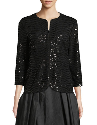 Alex Evenings Two-Piece Sequin Top and Jacket Set-BLACK-Medium