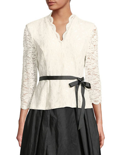 Alex Evenings Glitter Lace Scallop Blouse-WHITE-Medium
