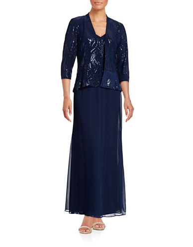 Alex Evenings Two-Piece Sequin Popover Gown Set-BLUE-8