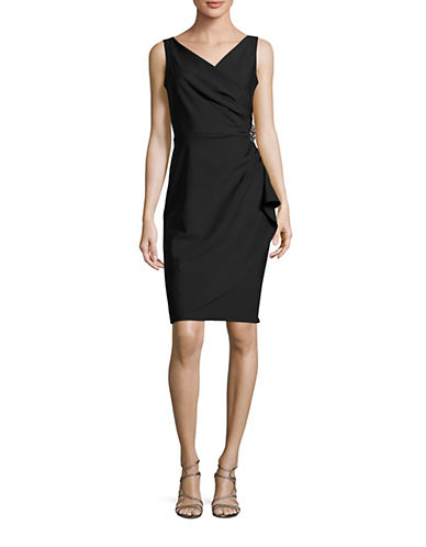Alex Evenings Beaded Sheath Dress with Ruching-BLACK-12