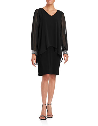 Image of Alex Evenings Beaded Capelet V-Neck Dress-BLACK-6