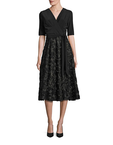 Alex Evenings Surplice Rosette-Skirt Dress-BLACK-10