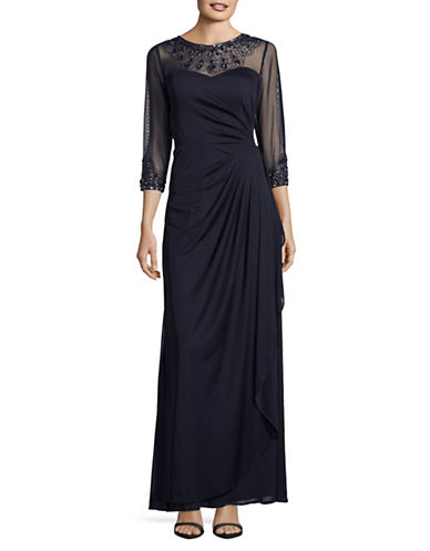 Alex Evenings Illusion Neck Beaded Gown-DARK NAVY-12