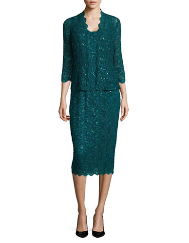 Alex Evenings Sequined Dress-GREEN-12