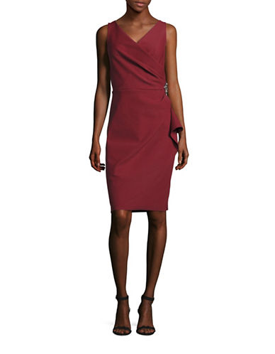 Alex Evenings Beaded Sheath Dress with Ruching-RED-8