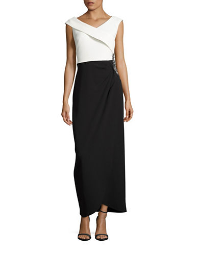 Image of Alex Evenings Beaded Colourblock Gown-BLACK-10