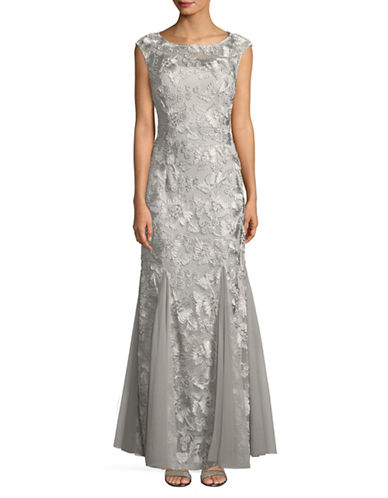 Alex Evenings Illusion Floral Embroidered Floor-Length Gown-PLATINUM-12