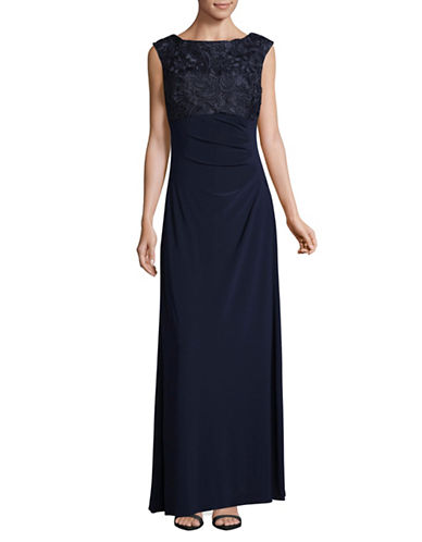 Alex Evenings Lace Bodice Floor-Length Dress-BLUE-10