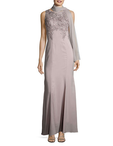 Alex Evenings Embroidered A-Line Gown with Shawl-GREY-16