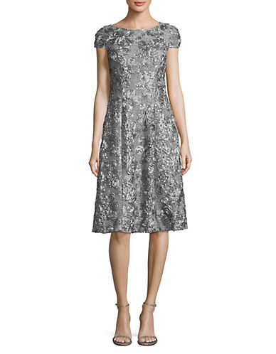 Alex Evenings Tea Length A-Line Rosette Cocktail Dress-GREY-12