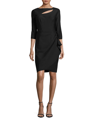 Alex Evenings Boat Neck Dress-BLACK-2