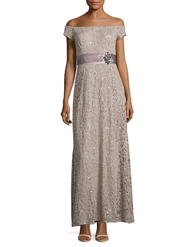 Alex Evenings Off-The-Shoulder Sequin Lace Gown-GREY-6