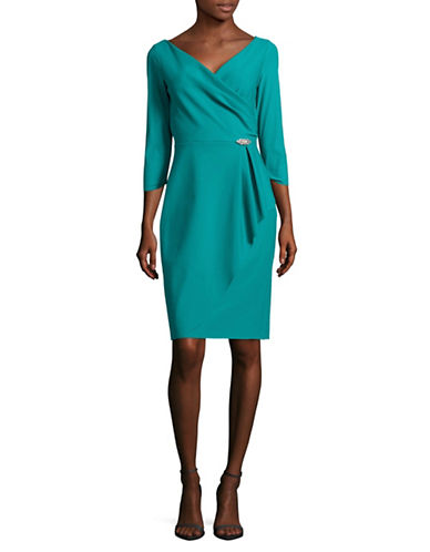 Alex Evenings Surplice Neck Sheath Dress-TURQUOISE-12